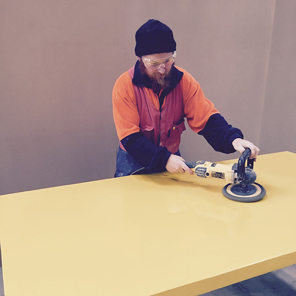 Image of polishing yellow door